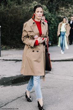 PFW Street Style - Celine red double disc earrings, trench coat