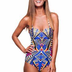 26373c153dbcb Bodyfab Blue Prints One Piece Swimsuit Aztec One Piece