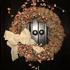 Hey, I found this really awesome Etsy listing at https://www.etsy.com/listing/223518587/the-pink-dogwood-burlap-wreath-spring
