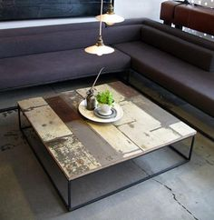 reclaimed wood & steel coffee table