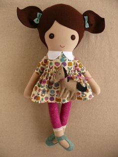 Reserved for Joey Fabric Doll Rag Doll Brown by rovingovine