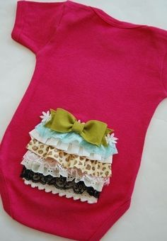 Adorable onesies - good way to use up that scrap lace!