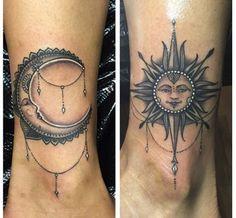 Crescent moon foot tattoo