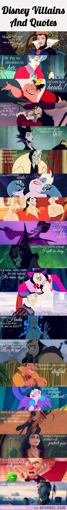 20 Disney Villains And Their Infamous Quotes. Can I just say I heard every single one of their voices reading the quotes in my head