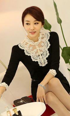 Korean Ladies  new fashion lace collar temperament personality render shirt black
