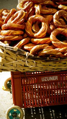 Cart load of simit at the market in Hasan Pasa, #Istanbul, #Turkey - great #street food...