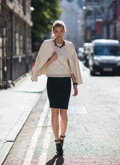 Shop this look on Kaleidoscope (top, jacket, skirt, bootie, necklace) http://kalei.do/WOENrErwS6IeUN7u