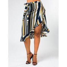 Stripe Print Midi Wrap Skirt with Ruffles - XL XL