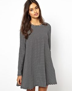 $39.93 | Glamorous Jersey Swing Dress in Stripe  Will this be better than the shapeless Anthro?  I can sew on arm patches!