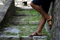Greek Men Leather Sandals in Dark Brown Color