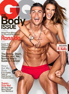 Alessandra Ambrosio joins footballer Cristiano Ronaldo for a super sexy GQ Magazine cover. Photographed by Ben Watts, Ronaldo flaunts his six-pack in red briefs while Alessandra Magazine Gq, Gq Magazine Covers, Alessandra Ambrosio, Bikini Clad, The Bikini, Victorias Secret Models, Victoria Secret, Cristiano Ronaldo Body, Cr7 Ronaldo