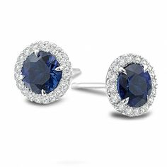 Sapphire and Diamond Stud Earrings! We carry sapphire, ruby and diamonds in our beautiful store in the marina district of San Francisco.