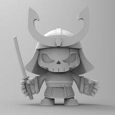 "SpankyStokes.com | Vinyl Toys, Art, Culture, & Everything Inbetween: Jon-Paul Kaiser x Huck Gee x Pobber Toys - ""Skull Headed Samurai"" 3D sculpt revealed!!!"