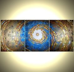 Abstact Blue Gold ORIGINAL Art Metallic PAINTING by by Laffertyart, $249.00 // I really like this piece.