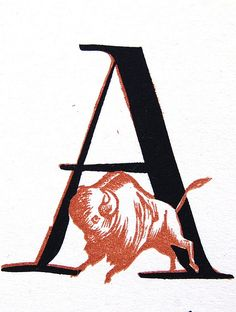 Woodcut by Bernard Brussel-Smith - letter A