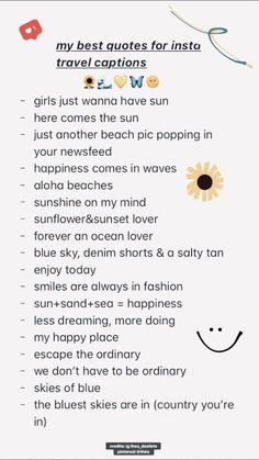 travel idea pictures ig, insta captions, travel ca - travelideas Summer Captions, Vacation Captions, Travel Captions, Cute Short Captions, Short Insta Captions, Captions Sassy, Cute Selfie Captions, Bio Instagram, Instagram Picture Quotes
