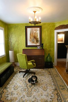 Bright green and wooden office space that would feel lovely in one of the downtown historic houses here in Lexington