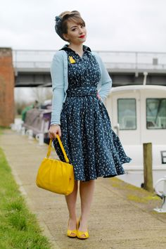 eShakti navy anchor print blouson dress with vintage style yellow accessories
