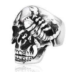 Punk Niello Scorpion Skull Head Cool Men's Titanium Finger Ring $168.90 - http://www.zivpin.com