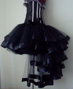 Black Burlesque Tulle Satin Bustle Tutu Skirt от thetutustoreuk