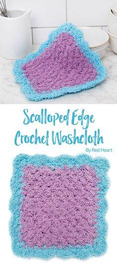 Scalloped Edge Crochet Washcloth free crochet pattern in Scrubby Cotton yarn.