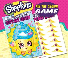 Pin the crown on the Cupcake Queen Etsy listing at https://www.etsy.com/listing/253103651/shopkins-party-theme-pin-the-crown-on