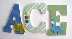 Custom Decorated Wooden Letters DARLING DINOSAUR by LetterLuxe, $10.00