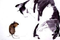 Ó istenem ! Az új életemben , kutya akarok lenni ! Oh my God! The new in my life, I want to be a dog ! Tus ,karton . 29 x 40 cm