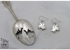 handcrafted and recycled spoon flying pig earrings