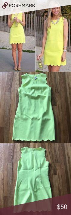 Neon Scolloped Edge Dress neon yellow scalloped edge dress, size 4. Perfect for the summer! J. Crew Dresses