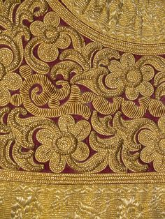 Detail of gold embroidery on red velvet ground on a vest (pirpiri), Albanian, 20th century, KSUM 1983.1.913.