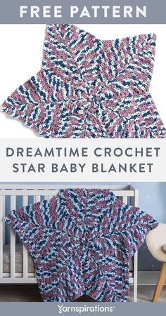 Free Dreamtime Crochet Star Baby Blanket pattern using Bernat Baby Blanket Yarn. This wonderful crochet blanket is a sweet addition to any nursery or playroom. This star-shaped layer of warmth is worked in the round, in double crochet, and features simple shaping and increases. Designed in soothing multi-shades of blue, it's perfect to lull baby into dreamland. #Yarnspirations #FreeCrochetPattern #CrochetBabyBlanket #StarBlanket #NurseryDecor #BernatYarn #BernatBabyBlanket Star Baby Blanket, Bernat Baby Blanket, Blanket Yarn, Baby Blanket Crochet, Crochet Baby, Double Crochet, Knit Or Crochet, Free Crochet, Easy Crochet Patterns