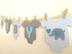 Baby shower Elefante - Baby OnePiece Bodysuit BABY BOY Elephant Baby Shower Banner Blue and Gray Elephant Baby Shower Decoration. Idee Baby Shower, Fiesta Baby Shower, Shower Bebe, Diy Shower, Shower Favors, Shower Games, Shower Party, Baby Shower Boys, Shower Invitations