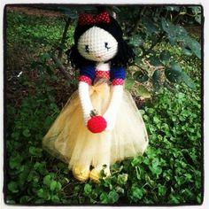 Snow white amigurumi, crochet art doll