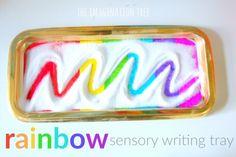 Rainbow sensory writing tray literacy activity
