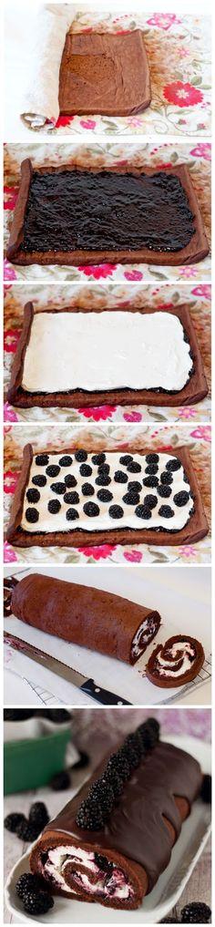 Chocolate Blackberry Cream Roulade