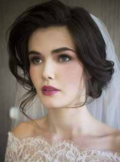 Medium wedding hair updo for brides.  Spring or fall wedding still look great with updos.