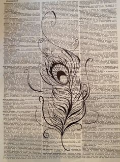 Original Drawing - Peacock Feather on Vintage Dictionary Page. $4.50, via Etsy.    I could do this. I think.