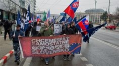 The organisers of the march called on Slovaks to liberate themselves from the 'jail of the European Union'.