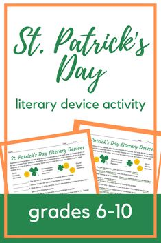 Patrick's Day Literary Devices, Grades – Find Your St Patrick's Day Activities Secondary Resources, School Resources, Teacher Resources, Teaching Ideas, Senior Activities, Spring Activities, Halloween Activities, Holiday Activities, High School Literature