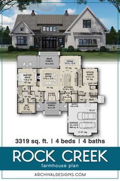 Rock Creek Modern Farmhouse Plan  Key Features: Dining with Rear Views,  Butler's Pantry, Covered Front Porch, Home Office/Study, Loft with Desk Area Mud Room, Laundry - 1st & 2nd Floors, and Walk-in Pantry  #modernfarmhouse #houseplans #homeplans #countryhouseplans #farmhouseplans #architecturalplans #architecturaldesigns #houseplandesigner #builderreadyplans #floorplan