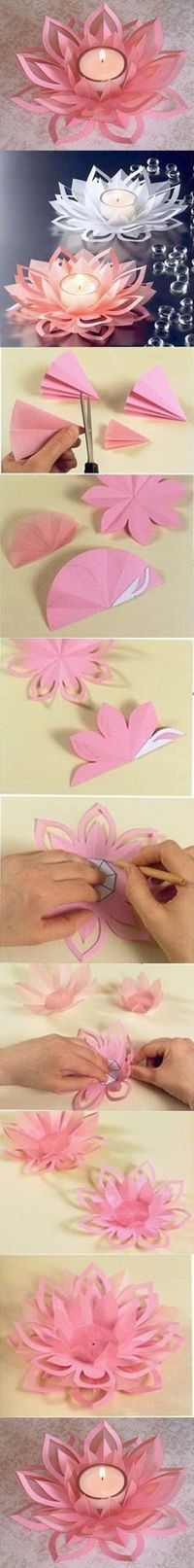 En taitaisi uskaltaa paperia kynttilän ympärille laittaa, mutta kukan malli on kaunis johonkin muuhun askarteluun!