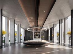 Project - WEIMAX STUDIO Showroom Interior Design, Hall Interior, Interior Design Companies, Architecture Plan, Interior Architecture, Porsche Showroom, Multipurpose Hall, Function Hall, Village Hotel