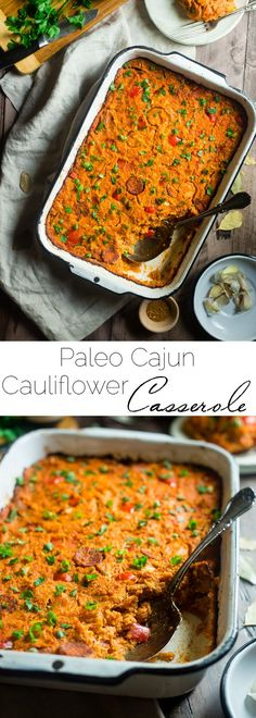 Paleo Cajun Cauliflower Casserole - This Cajun cauliflower casserole tastes like a bowl of Jambalaya but is secretly loaded with hidden veggies and protein! It's a gluten free, paleo-friendly meal that the whole family will love! | Foodfaithfitness.com | @FoodFaithFit