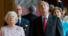 Britain's Queen Elizabeth II (L) and Prince Philip, Duke of Edinburgh (2nd L) give a tour of St George's Hall to US President George W. Bush (2nd R) and his wife, First Lady Laura Bush (R) at Windsor Castle, in Windsor, Berkshire, west of London, on June 15, 2008.