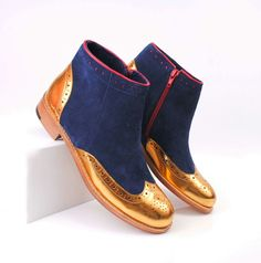 Original ABO navy and gold ankle boots. We ship worldwide, check out our e shop www.abo-shoes.com #abo #aboshoes #shoes #brogues #navyandgold #suede #ankleboots #boots #handmade #fashion