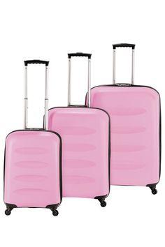 Heys Hardside Luggage  Apollo Zippered Polypropylene Luggage 3 Piece Set - Pink