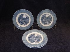 """END OF THE MONTH CLEARANCE SALE! Currier Ives Royal China Harvest Bread Plate 6 3/8""""  FOUR - MINT! #RoyalChina"""