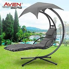 Garden Swing Helicopter Hammock Hanging Dream Chair Seat Lounger Bed Canopy Used Garden Swing Hammock, Hanging Hammock Chair, Pergola Swing, Pergola With Roof, Swinging Chair, Pergola Plans, Garden Swings, Corner Pergola, Chair Swing