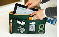 Slim Bag-in-Bag holds tablet and cords www.invitel.us